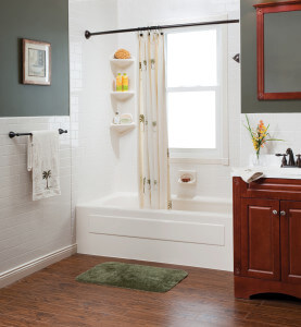 bathtub remodeling, installation bath pictured here in white